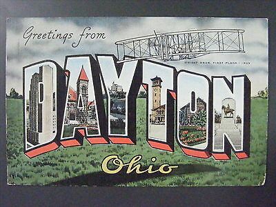 Greetings From Dayton Ohio OH Wright Brothers Large Letter Linen Postcard 1942