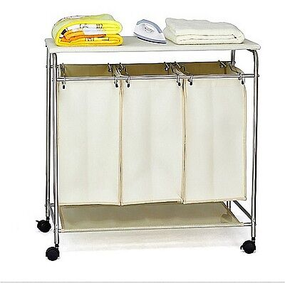 3 in1 Clean Dirty Clothing Washing Laundry Sorter Hamper Basket & Ironing Board