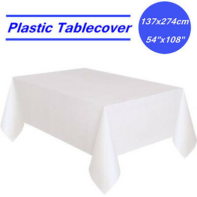 White Rectangle Plastic Table Cloth Cover Wedding Birthday Party Tablecover