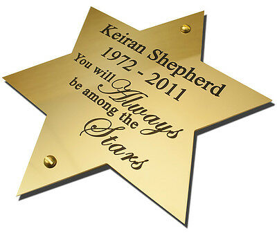 "6"" Star Solid Brass Plaque/Name plate. Deep Engraving in Solid Brass"