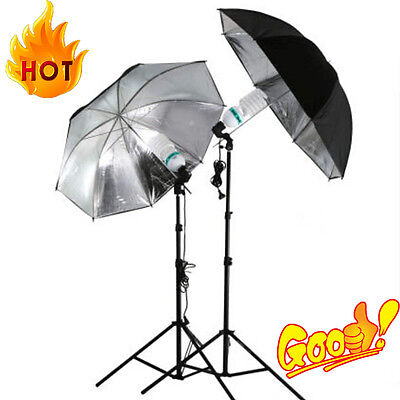 83cm Studio Flash Light Grained Black Silver Umbrella Reflective Reflector OE