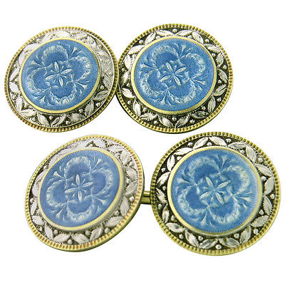 Art Deco Guilloche Enamel 14k Gold Cufflinks