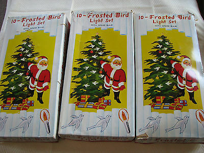 LOT OF 3 VINTAGE FROSTED BIRD CHRISTMAS LIGHT SETS WORKING
