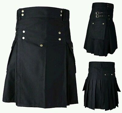 Men's Brand New Black Cotton Utility Kilt, Good Quality 100% Cotton