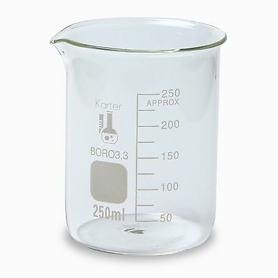 Karter Scientific, 250 ml Low Form Graduated Glass Beaker
