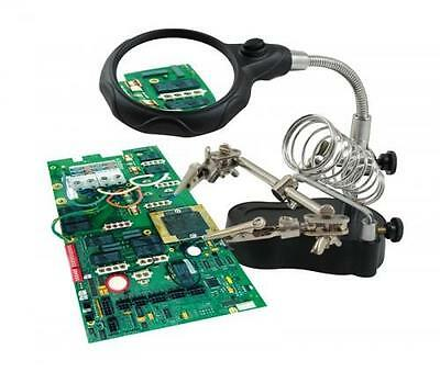 Led Illuminated Helping Hands Soldering Craft Work Holding Clamp Magnifier