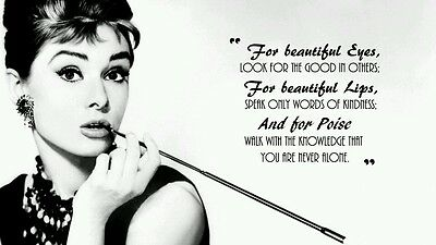 AUDREY HEPBURN - BEAUTIFUL QUOTE Wall Art Large Canvas Picture 20 x 30 inch
