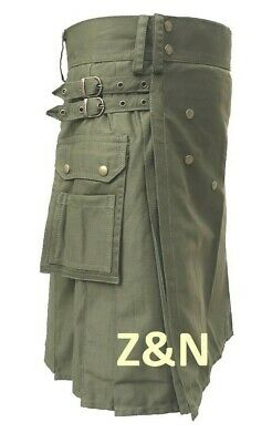 "Men's Brand New Mens Olive ""Green"" Cotton Utility Kilt, 100% Cotton"