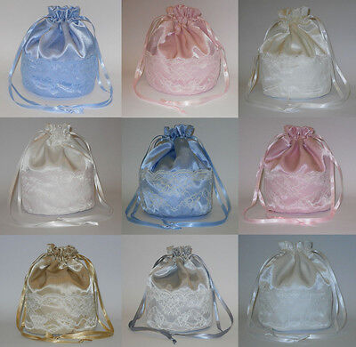 Satin & Lace Dolly Bag Handbag / Purse Wedding Bridesmaid Prom Colour Choice