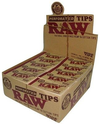 Raw Perforated Wide Tips Roach -- Natural Unrefined Hemp & Cotton Tips