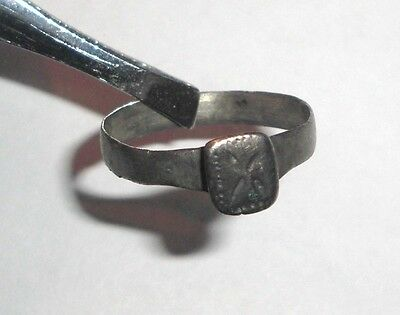 Ancient Byzantine Empire, 8th - 10th c. AD. Silver Ring, Cross
