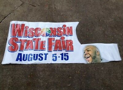 """Vintage Banner Wisconsin State Fair W/Miller High Life Beer Delivery Guy 71""""x31"""""""