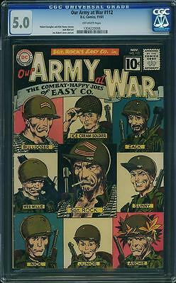 Our Army At War 112 CGC 5.0 Sgt Rock 1961 CLASSIC EASY CO. ROSTER CVR 1304220006