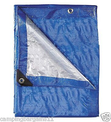 Outback PE Poly Tarp Ultra Violet Treated Tarpaulin Cover Blue Silver 9x18-36x36