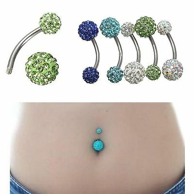 Belly Piercing OMBELICO Banana Pallina Bar LUCIDO Strass Acciaio Inox Body Art