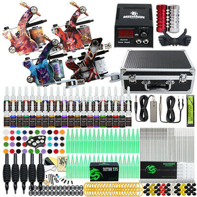 Tattoo Kit 4 Machine Guns Power Supply Grips Needles 40 color Inks Tip D176ND-13