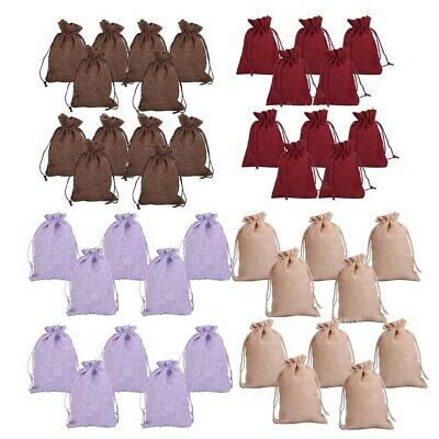 10x Linen Burlap Jute Hessian Drawstring Bags Wedding Favor Gift Jewelry Pouches