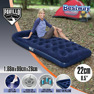 Bestway Single Air Bed Inflatable Mattress Built-in Foot Pump Pillow Camping