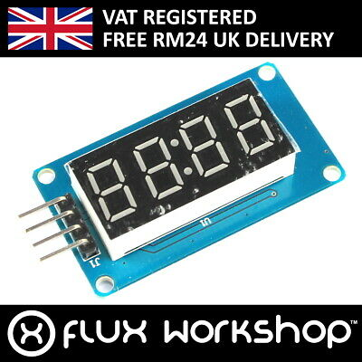 4 Digit Red 7 Segment LED Module TMH1637 Digital Tube Arduino Flux Workshop