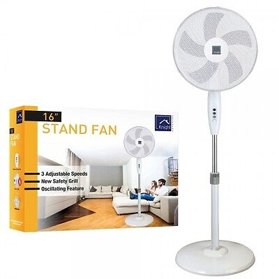 "5 Blade 16"" Pedestal Oscillating Stand Fan With Heavy Base & Adjustable Height"
