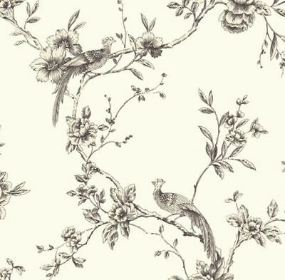 Shabby chic vintage Chinoise Birds Trees Wallpaper Yellow Teal Black Taupe Pink