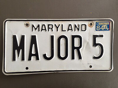 Original Vintage 1984 Maryland Auto Vanity License Plate Tag MAJOR 5
