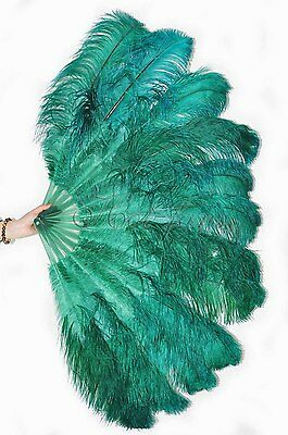 "Forest green Burlesque fan 2 layers Ostrich Feathers 54"" dancing fan"