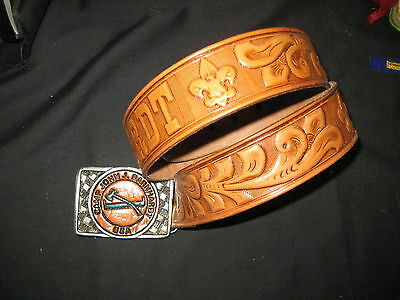 Camp Barnhardt Leather & Pewter Buckle on Leather Belt, waist 30 eb01