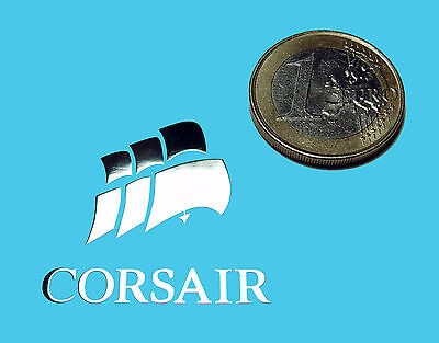 CORSAIR  METALISSED CHROME EFFECT STICKER LOGO AUFKLEBER 30x29mm [218]