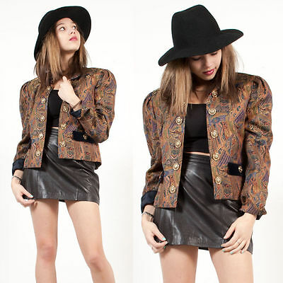 Womens Vintage Velvet Collared Baroque Patterned Blazer Jacket Steam Punk 12