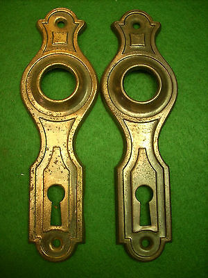 PAIR of SALVAGED ART DECO  STAMPED STEEL BACKPLATES - (3100-9)