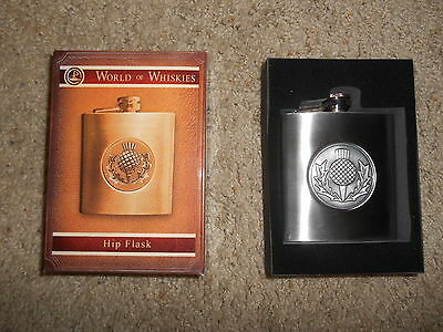 Brand New in Box World of Whiskies Whisky Hip Flask Silver