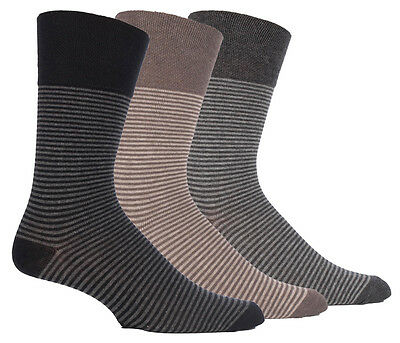 3 Pairs Mens Sock Shop Gentle Grip Black Brown Grey Stripe Everyday Socks, 6-11