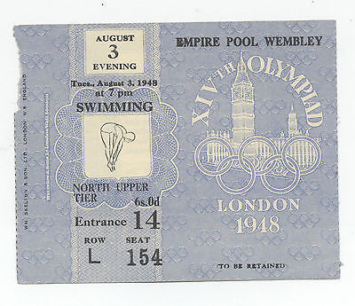 Orig.ticket   Olympic Games LONDON 1948 - SWIMMING 03.08. // 4 FINAL`s !! RARITY