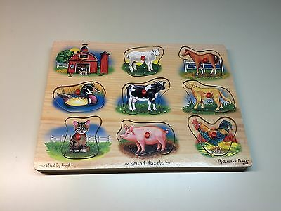 Old Vtg Collectible Crafted By Hand Melissa & Doug Farm Sound Animal Peg Puzzle