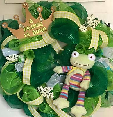 Green Frog Prince Mesh Wreath for Baby