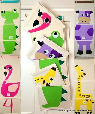 NEW KIDS Animal Toy Wall Organiser 4 Fun Designs Foldable 101x35cm Durable Cute