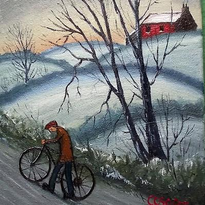 "The Long Push :  Original 14"" X 12""  Northern Art Oil Painting by COSA"