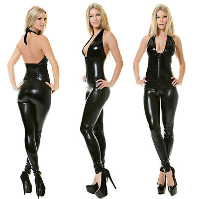 Sexy Clubwear Overall Party Outfit  mit oder ohne Strass Zip XS S M Made in EU