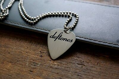 Hand Made Etched Nickel Silver Guitar Pick Necklace - Deftones