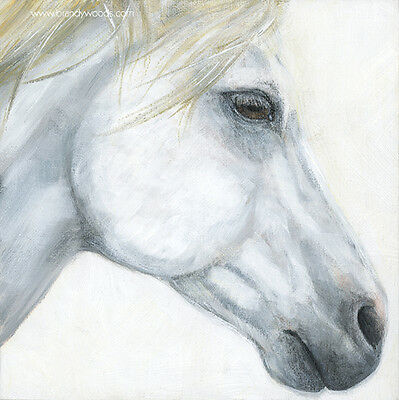 "Cavalia Odysseo White Horse Profile 8"" x 8"" art artwork PRINT Brandy Woods"