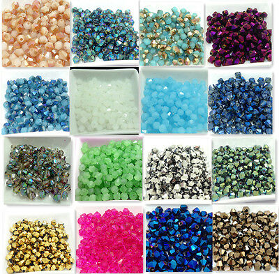New100pcs Faceted bicone crystal glass jade  loose Spacer beads 6mm Wholesale
