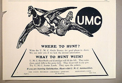 Union Metallic Cartridge Co. PRINT AD - 1908 ~ UMC ~ duck hunting