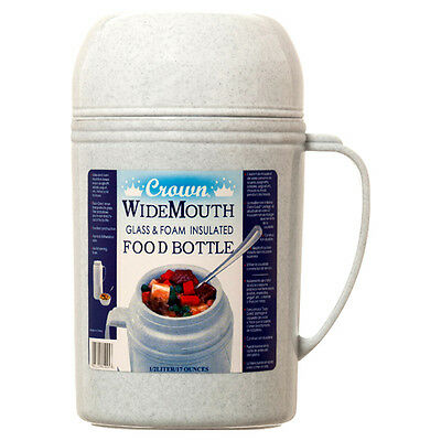 Crown Wide Mouth RAZ-05 Glass Vacuum Foam Insulated Food Bottle Thermos Jug 17oz