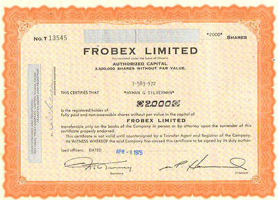 Frobex Limited > 1975 Ontario Canada stock certificate