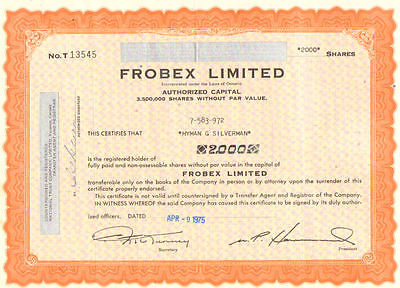 Frobex Limited   1975 Ontario Canada stock certificate