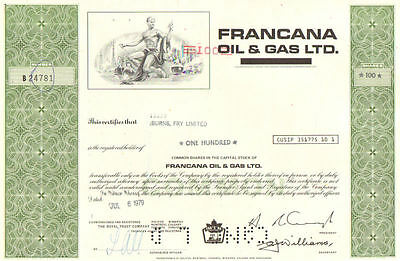 Francana Oil & Gas Ltd   1979 Canada Sceptre Resources stock certificate