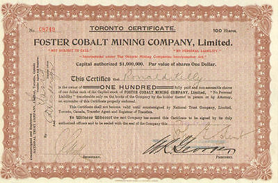Foster Cobalt Mining Company   1907 Toronto Ontario Canada stock certificate