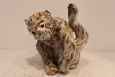 Cute Chinese Porcelain Monkey Figurine Leg Stretch Pose Beautiful Glaze Finish