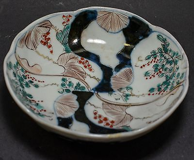 Early Japanese Imari Porcelain Bowl With Red and Blue Flowers,